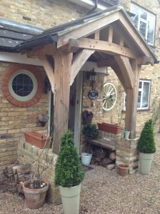 Chunky post and beam oak porch