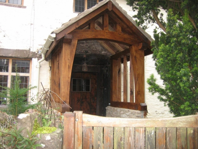 Coated oak porch on cottage