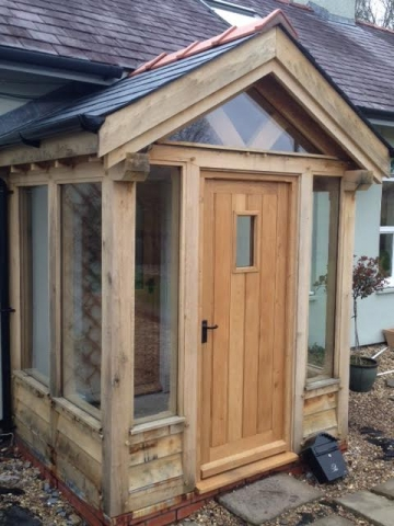 Enclosed oak porch mid Wales