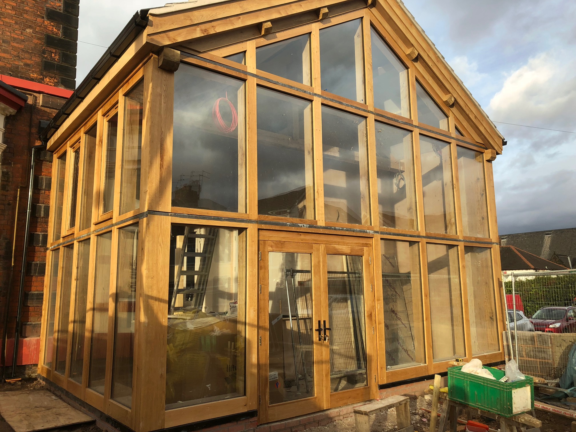 Large oak framed glazed extension