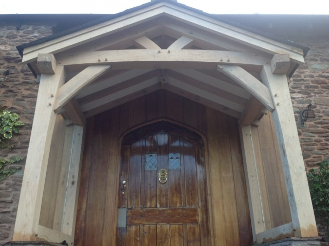 Monmouth oak porch with glass in the sides