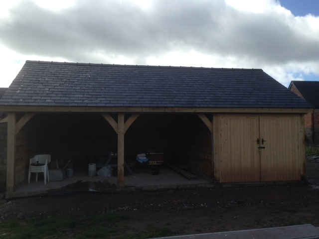 Triple bay oak garage single storey