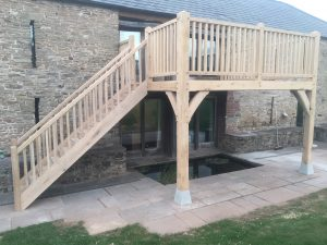 Oak balcony and staircase fitted to stone barn in Herefordshire