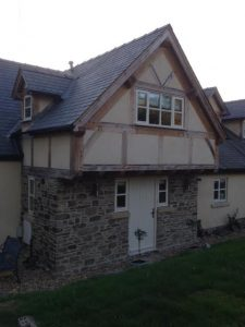Oak and render panels extension