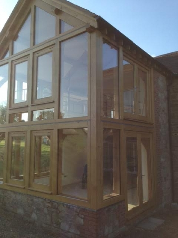 Oak and glass extension in Herefordshire