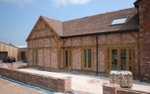 Oak Framed extension with brick infill