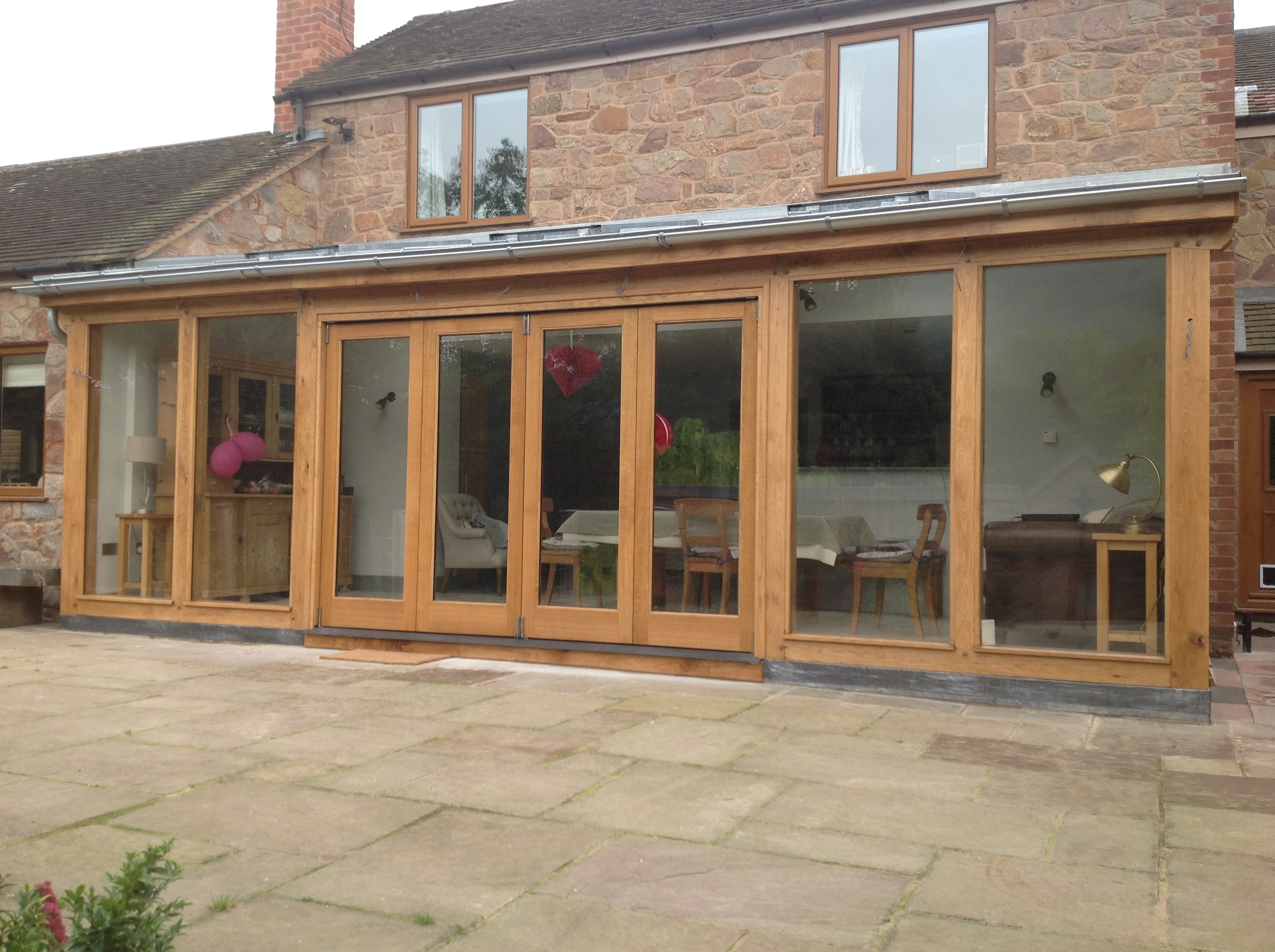 Oak framed lean too extension