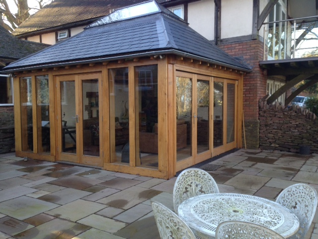 Oak Framed conservatory with full length glass