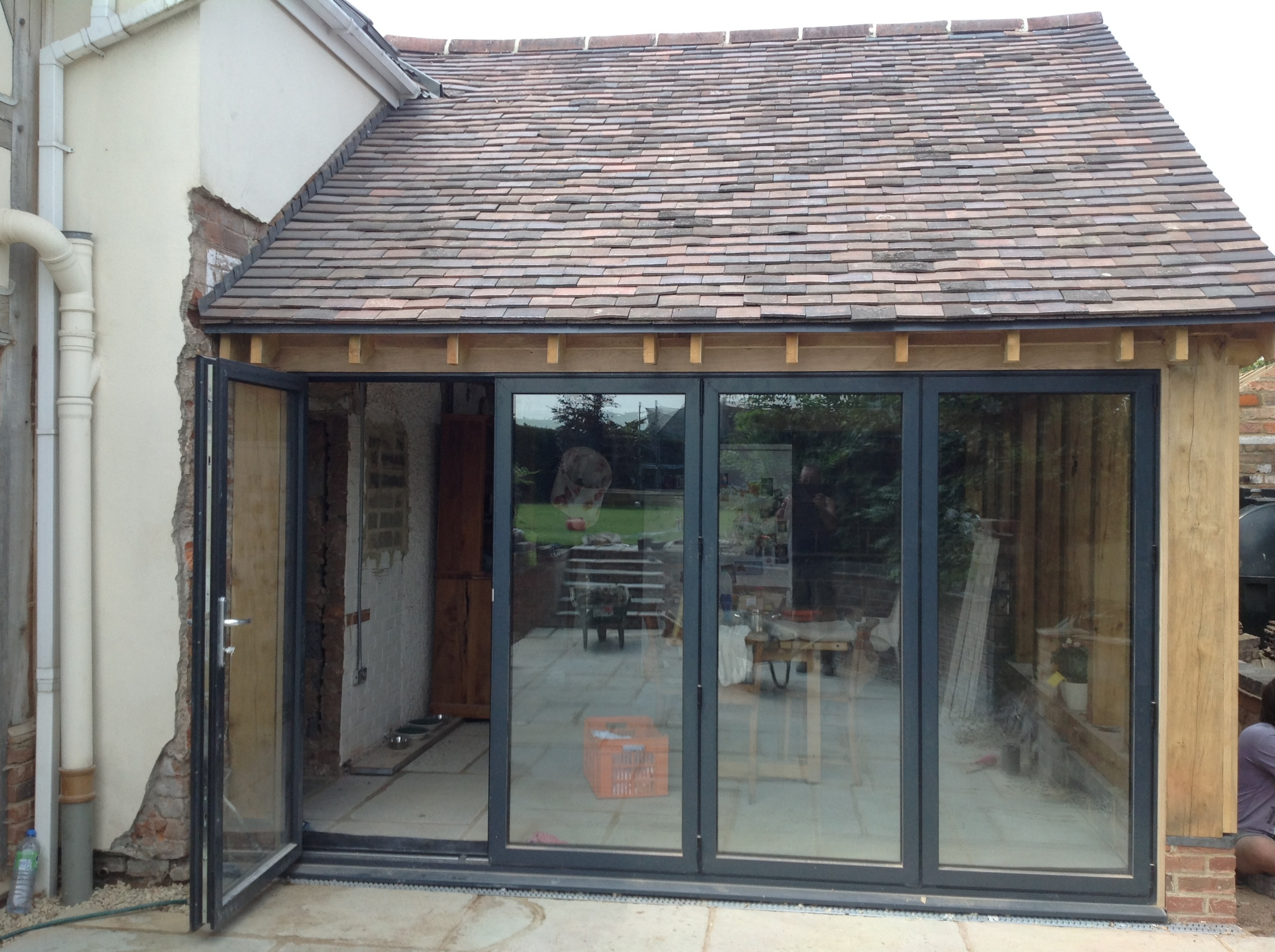 Oak and aluminium framed extension
