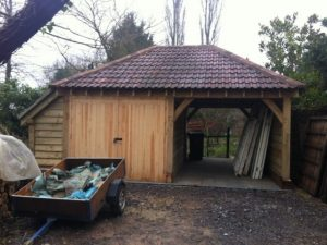 Hipped roof oak garage