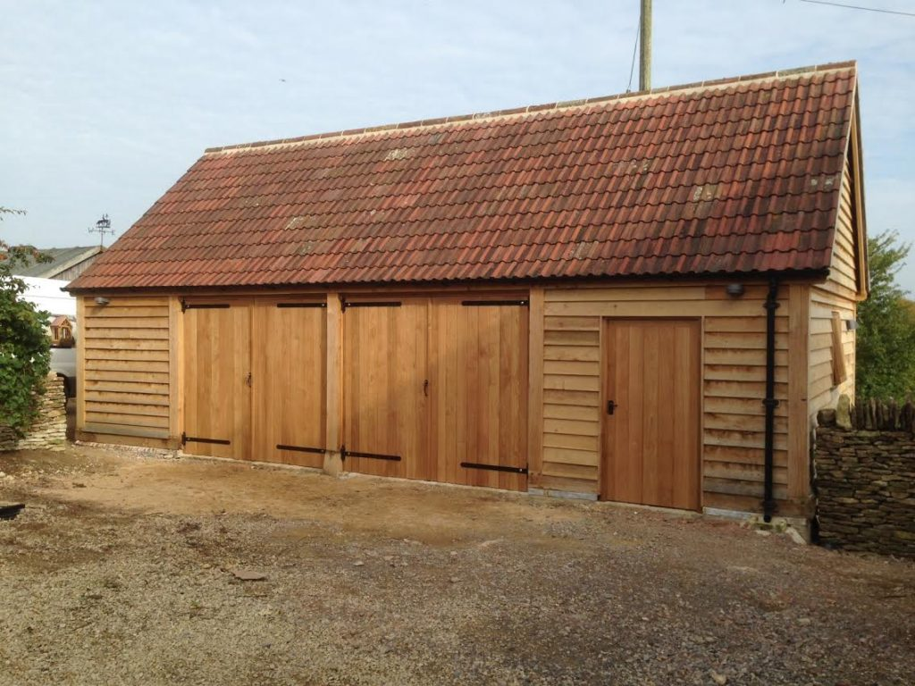Oak framed garage with workshop