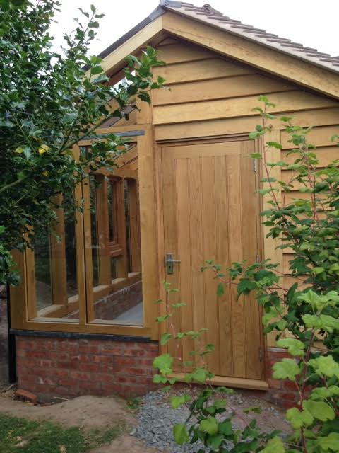 Oak greenhouse and shed