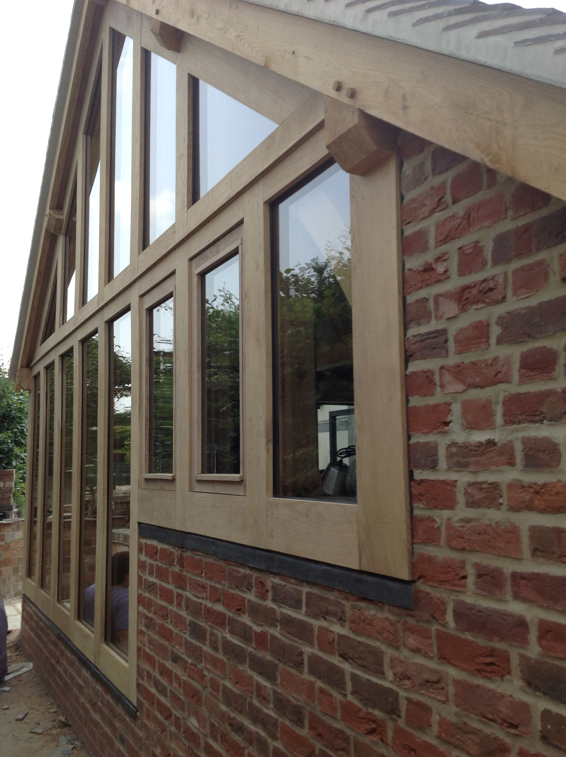 Oak framed extension with plant on glazing system