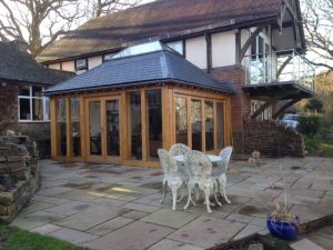 Oak framed orangery with centre lantern