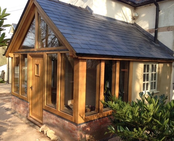 Large oak and glass porch