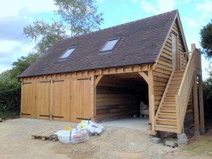Oak framed garage with office