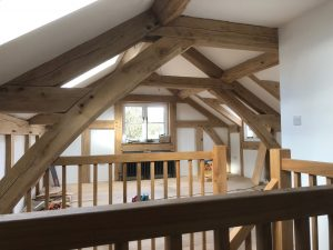 Arch collar oak truss extension frame with render panels