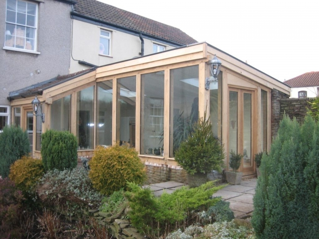 Glazed oak framed lean too sun room