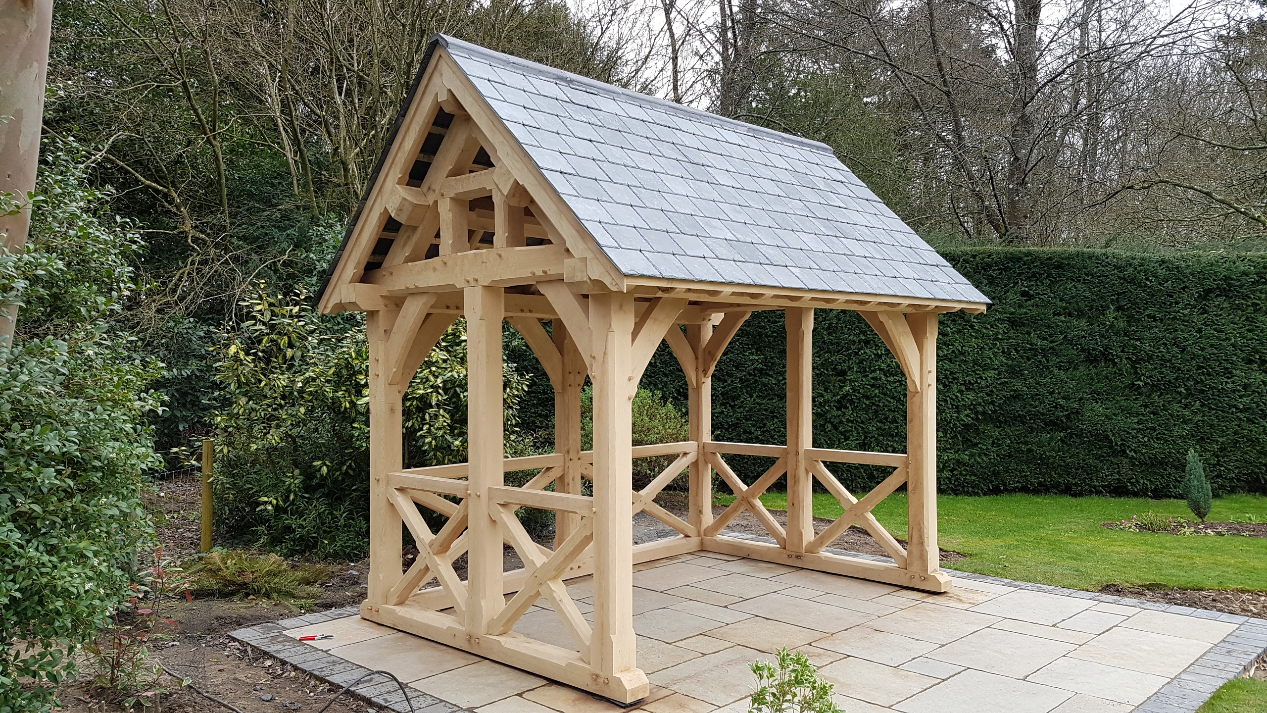 Oak Framed garden room with slate roof.