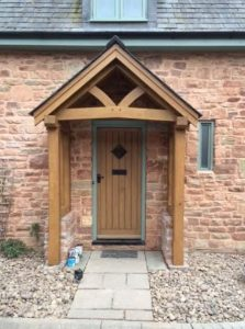 Oak porch with full height posts