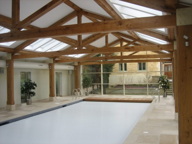 Oak trusses over swimming pool