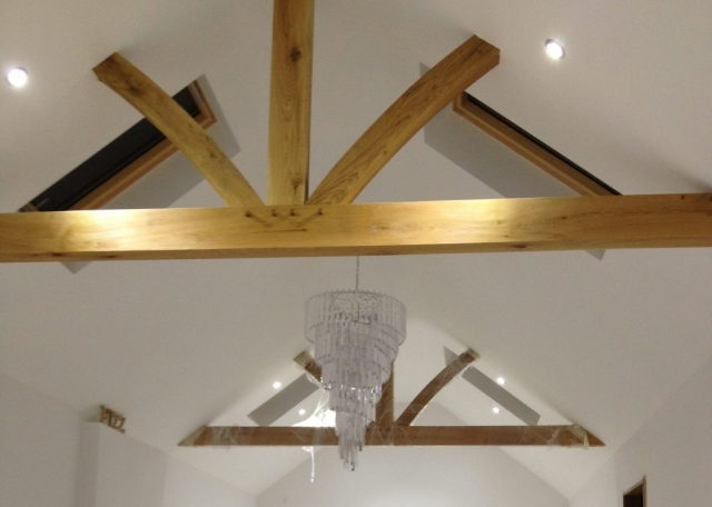 Oak truss into roof