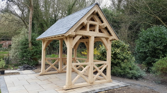 Oak garden room with slate roof