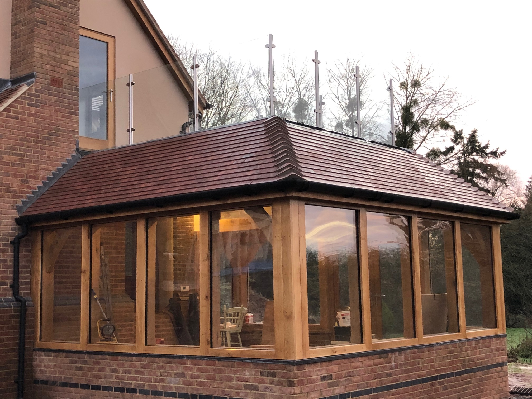 Oak garden room fully glazed.