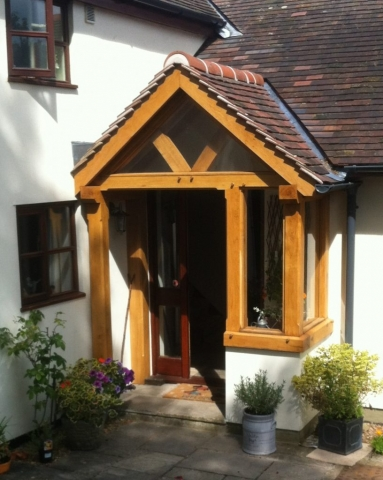 Corner oak framed porch