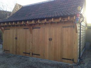 2 bay enclosed oak garage