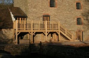Oak Framed balcony supplied and fitted in Worcestershire fitted to an old stone...