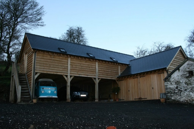 Large oak framed garage with first floor