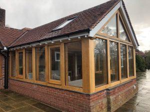 Oak framed sun room extension in Ludlow