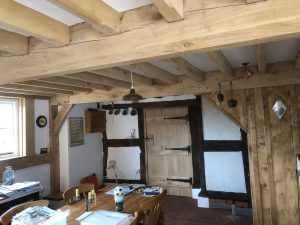 oak framed extension with joists