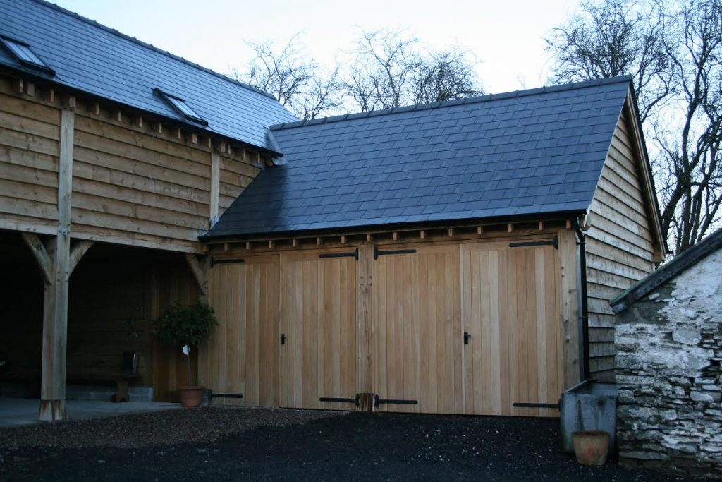Enclosed two bay oak garage