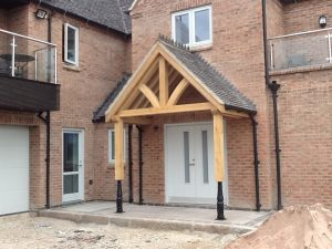 Oak Framed porch st on metal posts