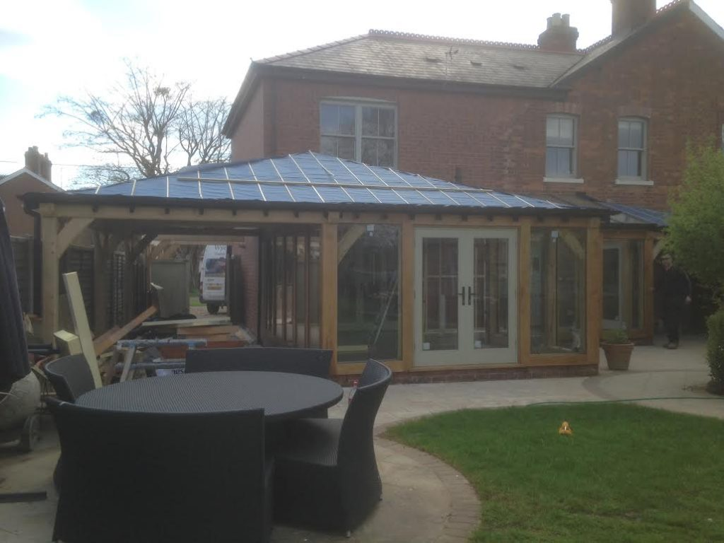 Oak Framed conservatory with carport