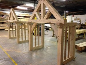 Oak porch kits with king post gable truss