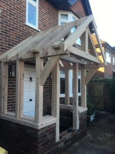 Oak framed porch Buckinghamshire ready to enclose