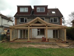 Large oak framed extension in Surrey