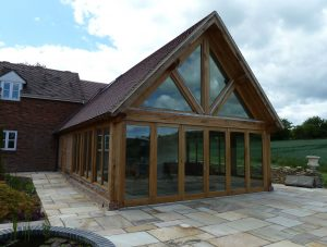 Oak framed garden room extension fully glazed