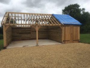 Single storey three bay garage