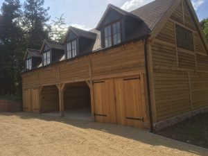 Two storey oak framed garage