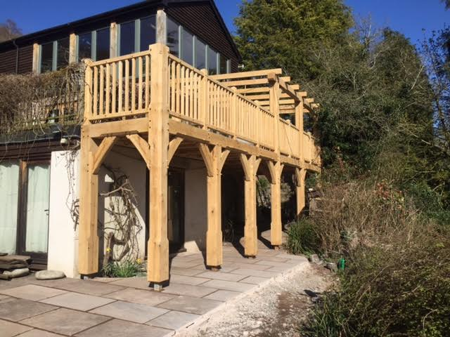 Large oak framed balcony with lean too