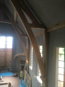 Large Oak framed arch collar truss