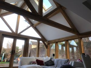 Oak glazed extension and feature truss