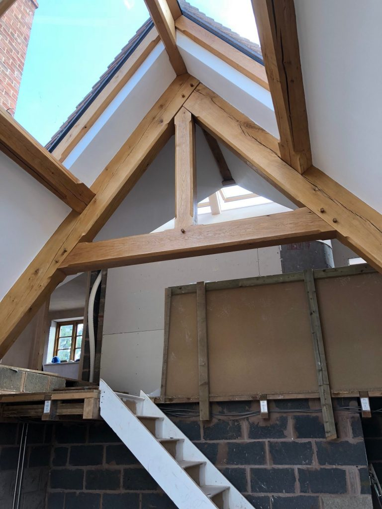 Internal oak truss on extension