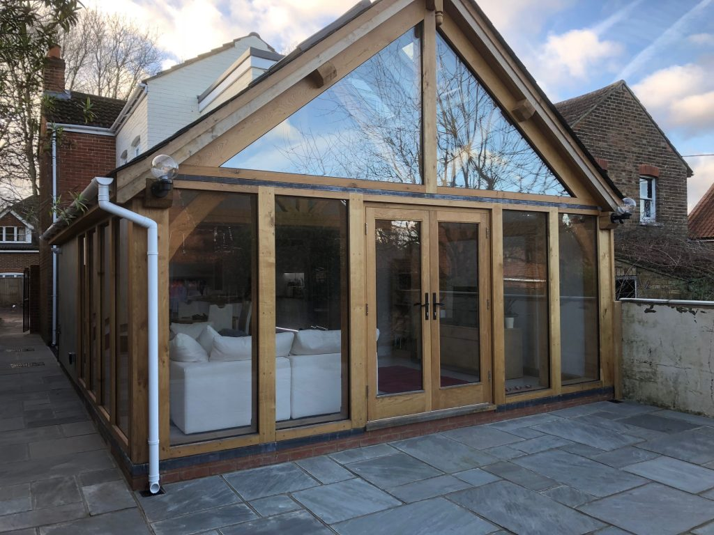Oak framed conservatory extension fully glazed