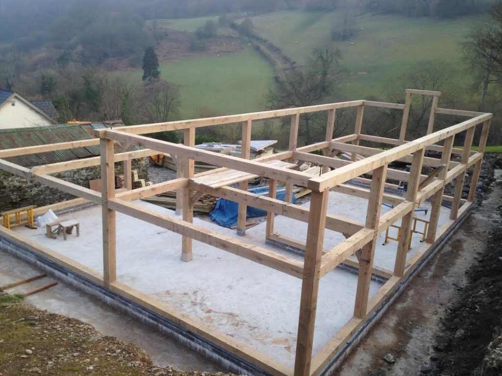 Oak framed garage being erected