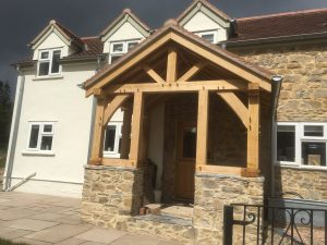 Open oak framed porch